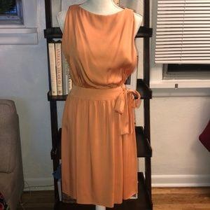 Vintage • Peach Silk Sleeveless Dress